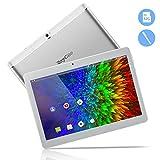 10,1 Zoll 3G Android Tablet, Android 8,1 Quad Core CPU, 32 GB ROM, 2 GB RAM, IPS HD (1280 x 800), entsperrter Telefonanruf Phablet PC mit Zwei SIM-Kartensteckplätzen, GPS, WLAN Tablet Pad (Silber)