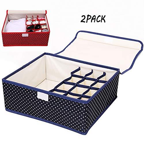 ZUEN Underwear Storage Box with Lid, Foldable Underwear Storage Box, Wardrobe Organiser for Panties Socks Bras and Ties Drawers Organised