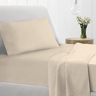 Pizuna 400 Thread Count Cotton Beige 3 Piece Bed Sheet Set TwinXL, 100% Long Staple Cotton Luxurious Soft Satin Sheet Set...