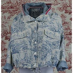 Atelier Jomaa blaue Oversize Jacke aus 100% Baumwolle im Toile de Jouy Motiv [ hergestellt in Deutschland ]