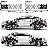 1A Style Sticker Auto Seitenaufkleber 2er (Beifahrer und Fahrerseite) Set Waben Muster Rauten Hexagon Aufkleber