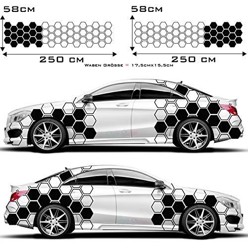 1A Style Sticker Auto Dekor Seitenaufkleber Set Waben Muster Rauten Hexagon Aufkleber Rautenmuster, Wabendesign