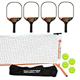 PickleballCentral Rally Tyro 2 Pickleball Paddle, Portable Net and Ball Set (Includes Rally Style Free Standing Metal Frame & Net + 4 Composite Paddles + 4 Balls + Rules Sheet in Carry Bag)