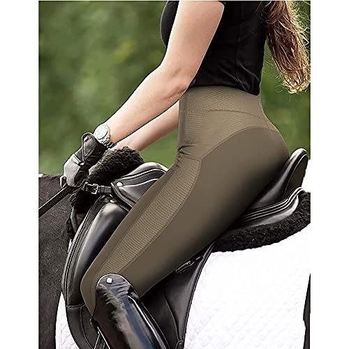 VerOut Damen Reiten Strumpfhosen - Mid-Austritt-Taille Full Seat Silikon-Grip-Rehpfer Jodhpurs Reithosen Damen Equine Leggings Stretch,Grün,XXL