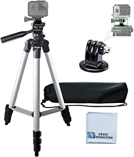 """50"""" Aluminum Camera Tripod with Built in Bubble Level Indicator for All GoPro HERO Cameras + Tripod Mount & an eCostConnection Microfiber Cloth"""