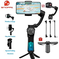 🏆The Snoppa Atom can achieve 360° rotation in roll axis . 【FOLDABLE & PORTABLE】A foldable design allows Atom Gimbal to be taken anywhere. Weighs only 15.5 oz, and carries a payload up to 11 oz. More than a half size can be saved to make your travel m...