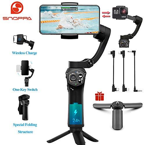Snoppa Atom Estabilizador Smartphone Gimbal de mano plegable de bolsillo de 3 ejes 310g Carga útil para GoPro Hero 4 5 6 iPhone 8 7 X y carga inalámbrica y 24 H Tiempo de funcionamiento