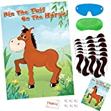 Hokic Pin The Tail On The Horse Game for Girls/Kids Birthday Party Decorations Horse Themed Birthday Party Supplies, Large Horse Poster 30 Tail Stickers