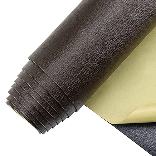 """Leather Repair Patch 16"""" x 79"""", Self-Adhesive Leather Patches for Couch, Furniture, Car Seats, Handbags (Dark Brown)"""
