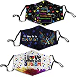 3PCS Autism Puzzle Piece Awareness I Love Someone with Autism It's Ok to Be Different Cloth Face Mask Blue