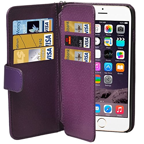 Ausgestattet Hüllen Mappen-Art-Six-Karten-Slots PU Ledertasche mit Lanyard for iPhone 6 Plus & 6S Plus (Brown) Asun (Color : Purple)
