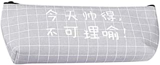 Mandyu Glamorous Personality Chinese Characters Pencil Case Zipper Stationery Bag Pouch Narcissistic Letters Canvas Pen Bag(None Gray)