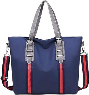 Trendy Lady Nylon Cloth Large-capacity Handbag Fashion Contrast Color Shoulder Bag Portable Big Bag Zgywmz (Color : Blue, Size : 34 * 12 * 32cm)