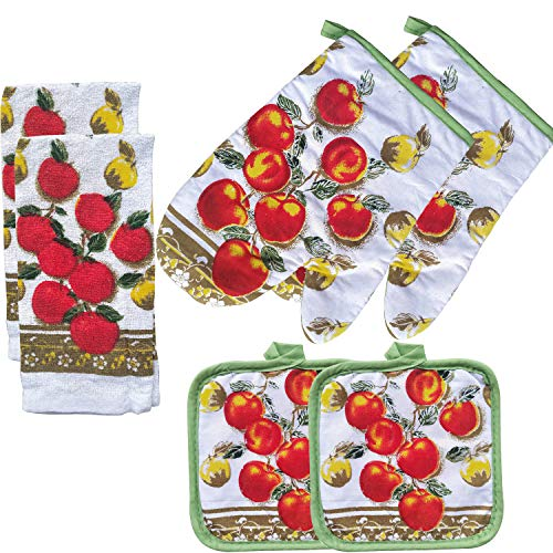 FSTIKO Tasty Apple Decor Printed Kitchen Linen Set Includes 2 Towels Pot Holders, 2 Heat Insulation Oven Mitt, 2 Kitchen Towels for Cooking, Baking, Barbecue (Set of 6 Piece)