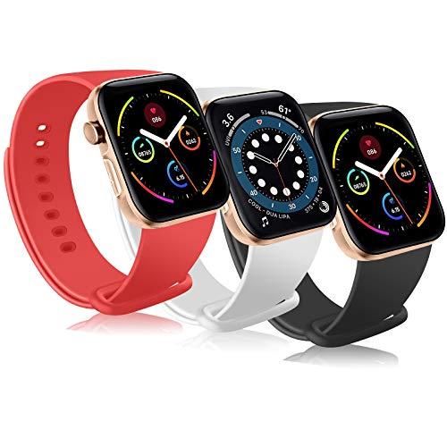 Gomei - 3 correas para Apple Watch de 44 mm, 42 mm, 40 mm, 38 mm, correa deportiva de silicona para iWatch Series 6/5/4/3/2/1/SE, correa para mujer/hombre (42/44 mm S/M, B Pack)