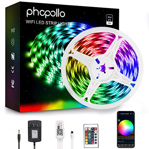 Phopollo Smart WiFi Led Strip Lights, Phone App Controlled 16.4ft Waterproof 5050 LED Lights Kit Sync with Music, Compatible with Alexa and Google