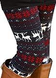 Uaderize Soft Leggings for Women Christmas Reindeer Print Legging Tights Black L