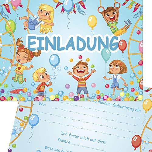 Kreatives Herz Indoor Spielplatz TOBEWELT HÜPFBURG Einladungskarten zum Kindergeburtstag (10er Set) Einladungen A6 Kinder Party (10 Karten)