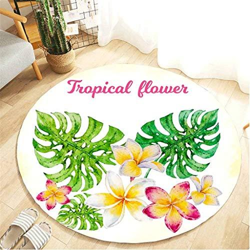 Scrolor Bad teppiche für Wohnzimmer Tropische pflanzenblätter Muster runde Carpet Flanell Material Bad küche Carpet 80 cm Durchmesser
