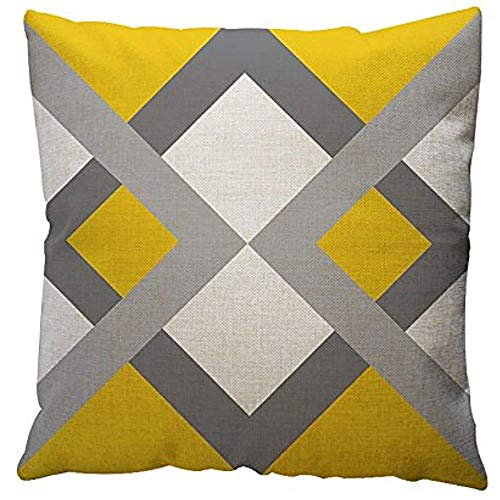 King34Webb - Fundas de almohada geométricas amarillas para decoración del hogar, creativas y modernas, de lino y algodón, fundas de almohada decorativas para sofá, fundas de cojín, fundas de almohada para decoración del hogar, 45,7 x 45,7 cm (G)