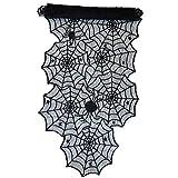 Oblique Unique® Tischläufer Spinnennetze und Spinnen mit Spitze Tischband Tisch Läufer Tischdeko für Halloween Deko Dekoration Schwarz 45cm breit 1,8m lang