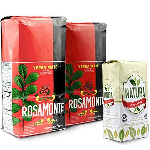 Juego de té Yerba Mate de rosamonte tradicional 2 kg (2 x 1 kg) + Natura Orgánica 0,5 kg | té mate de Argentina | té mate de hojas de mate, trozos de matemático y hojas finamente molidas