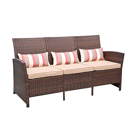 SUNSITT Outdoor Furniture 3 Seats Patio Sofa Couch, Brown PE Wicker with Beige Cushions & Lumbar Pillows, Porch, Backyard, Pool, Steel Frame