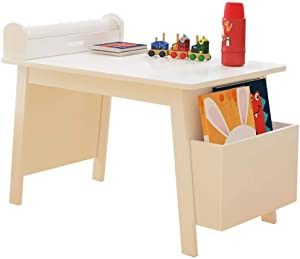 JN Children's Study Desk Kids Art Table W/Paper Roll Holder, Storage Box, Smooth Activity Table, Painting Table with 10m Roll Paper Children's Study Table and Chair Set
