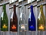 Hanging Lantern Wine Bottle | Tea Light, Votive Candle | Hurricane Lamp, Lighted Wine Bottles, Indoor Outdoor Lighting (Gift Wrapped: No, Cobalt Blue)