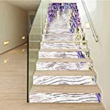 3D Self-Adhesive Staircase Stickers Wall Murals, Lilac Flowers Bouquet on Wooden Plan, Decorative Floor Step Pasting House Decoration W39.3 x H7.08 Inch 13PCS/Set