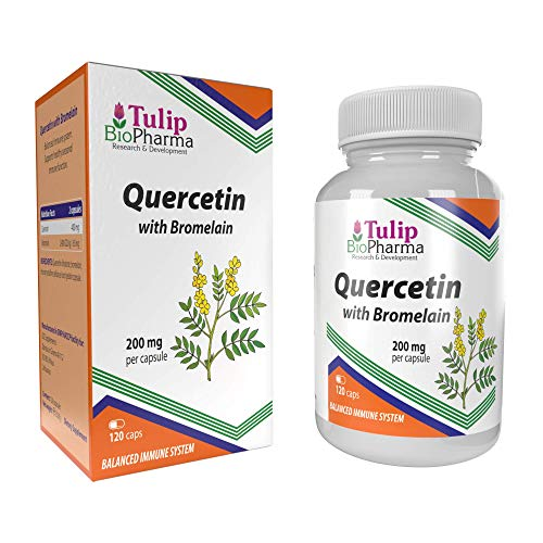 Quercetin with Bromelain 120 Capsules not Tablets, Immune Health Supplement, High Strength and Bioavailability