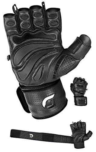 Elite Leather Gym Gloves with Built in 2' Wide Wrist Wraps Best Leather Glove Design for Weight Power Lifting Bodybuilding & Strength Training Workout Exercises (Black, Medium)