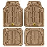 CAT ToughRide Heavy-Duty 4 Piece Rubber Floor Mats for Car Truck Van SUV, Beige – Odorless Trim to Fit Car Floor Mats, All Weather Deep Dish Automotive Floor Mats, Total Dirt Protection
