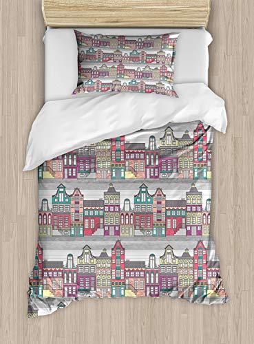 ABAKUHAUS Nederlands Dekbedovertrekset, Amsterdam Schets Huizen, Decoratieve 2-delige Bedset met 1 siersloop, 130 cm x 200 cm, Veelkleurig
