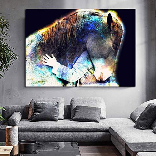baodanla Pintura al óleo sin Marco Arte Moderno de la Pared Colorido Caballo Animal Impresiones Lienzo Ng Cuadros de Pared para Sala de Estar Quadro Home60x90cm