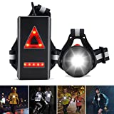ZOOI Running Lights for Runners - 120°Adjustable Beam LED Chest Light, 360° Reflective Vest Body Torch Winter Night Running Gear Accessories, USB Rechargeable Flashlight for Cycling Dog Walking