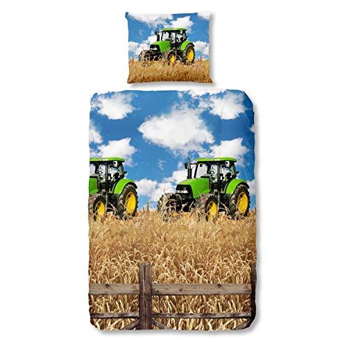 Good Morning Bettwäsche 5604 Farmer Traktor Bunt Baumwolle, 135 x 200 cm + 80 x 80 cm