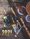 2021 Planner: Fishing Pole and Gear Theme / Daily Weekly Monthly / Dated 8.5x11 Life Organizer Notebook / 12 Month Calendar - Jan to Dec / Full Size - Flexible Cover / Cute Christmas or New Years Gift