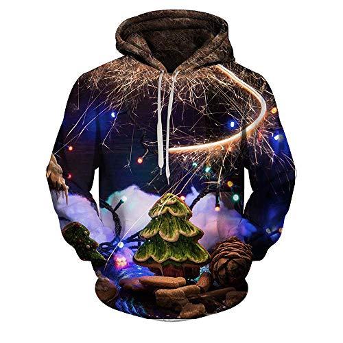 MRULIC Unisex 3D Printing Pullover Langarmshirt mit Kapuze Sweatshirt Tops Bluse Hoodie Weihnachten Spezial Design(A4-Mehrfarbig,M)