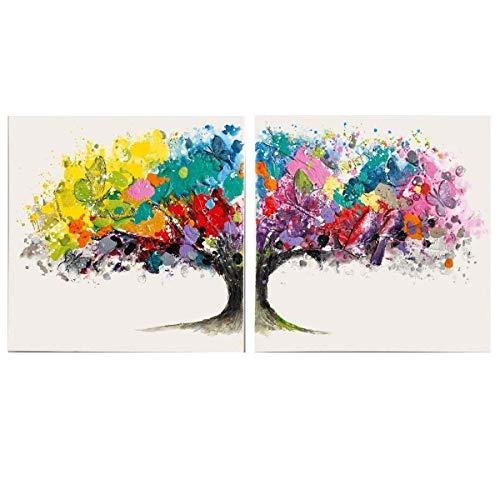 Pureday Bilder-Set auf Leinwand Motiv Magic Tree Acryl bunt-weiß 2 Stück je 80 x 80 cm
