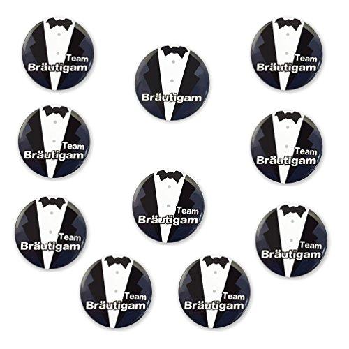 Oblique Unique® 1 x Bräutigam & 9 x Team Bräutigam Sticker für Junggesellenabschied I Hochzeit I Anstecker