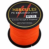 Hercules PE Superline geflochtene Angelschnur, 300?m, 2,7?10lb-300lb, 8-fach, Herren, Orange,...