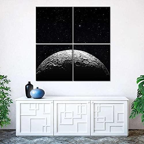 JKHKJ Lienzos Cuadros Decoracio Paisaje Espacial De La Superficie Lunar Impresión De Lienzo 3 Piezas De Pared Arte Pintura,Cuadro sobre Lienzo 3 Piezas,Cuadro En Lienzo Impresión De 3 Piezas Pintura