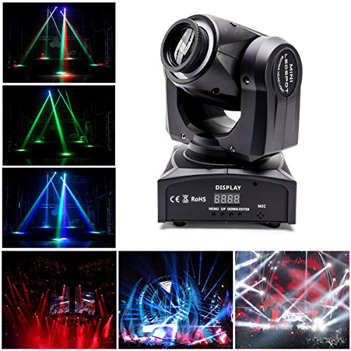 UKing Moving Head Foco LED, 40W RGBW Luces de escenario Luces de haz efecto DMX512 Luz de fiesta con anillo de iluminación DJ Lichter para Stage Bar Weihnachten Halloween (Nueva versión)