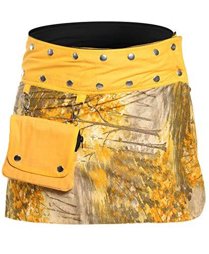 ufash Mini Falda Cruzada para Las Mujeres, de la India - con 18 Botones de presión - Reversible con 2 diseños Diferentes y un Bolsillo adosado - Ropa de Fiesta Goa - Muchos diseños Diferentes