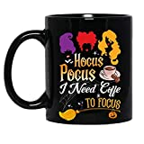 Hocus Pocus i Need Coffee to forcus Brujas Sanderson Sisters Halloween Disfraz Divertido Taza de cerámica Gráfica Tazas de café Tazas negras Tazas de té Personalizado Novedad