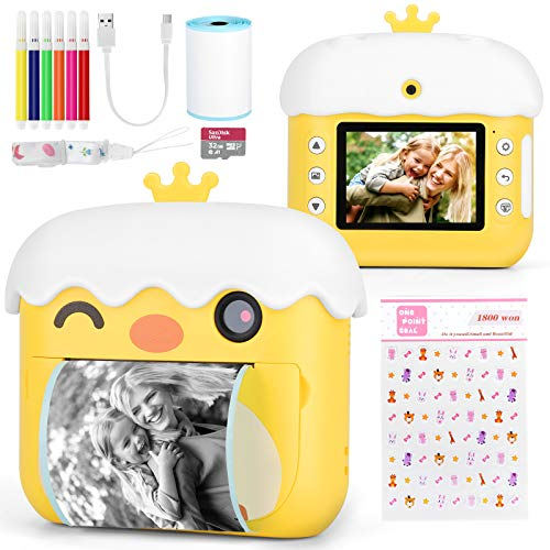 ComboJoy Polaroid Camera for Kids - Instant Print and Stick Camera - Digital Video and Photos Transfer from/to Phone - Cute Chicken Outlook with Gift Box Perfect as Kids' Gift