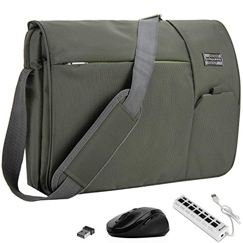 VanGoddy Olive Green Executive Anti-Theft Laptop Messenger Bag w/ Wireless Mouse and USB HUB for Samsung NoteBook Series / ChromeBook / TabPro S / Galaxy Book / 11' to 15inch