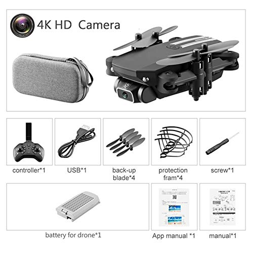 Drone HD-camera met drone Kinderspeelgoed Quadcopter FPV WiFi Mini Drone 4K Drones Altitude Hold Mode LED-verlichting, Eenvoudige bediening, kan worden gebruikt als cadeau voor uw kind,Black