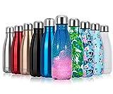 Fancytimes Doppia Parete in Acciaio Inox coibentato Bottiglia di Acqua - 350ml & 500ml & 750ml - Isolante della Borraccia - Privo di BPA, BPS - Scuola, Sport, All'aperto
